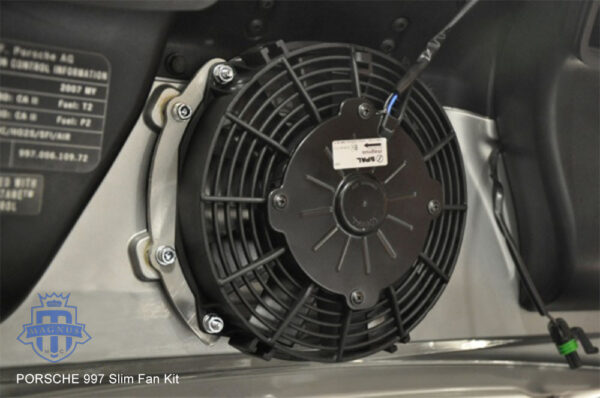 Magnus Motorsports Porsche 997 Slim Fan Kit installed
