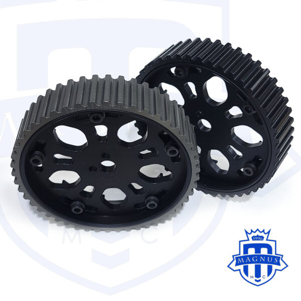 Both Gears_Magnus_Motorsports_All Black_Adjustable_Cam_Gear_4G63_EVO_DSM