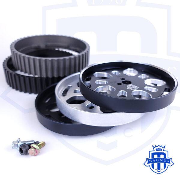 Magnus_Motorsports_all-options_All-Black_Polished_chamfers_edges_raw_aluminum_face_plate_Adjustable_Cam_Gear_4G63_EVO_DSM